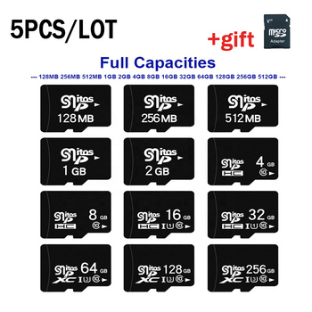 5PCS Micro SD TF Card 1GB 2GB 4GB 8GB Class10 Flash Memory Card Microsd 16GB 32GB 64GB 128GB 256GB SDCard for Smartphone Adapter