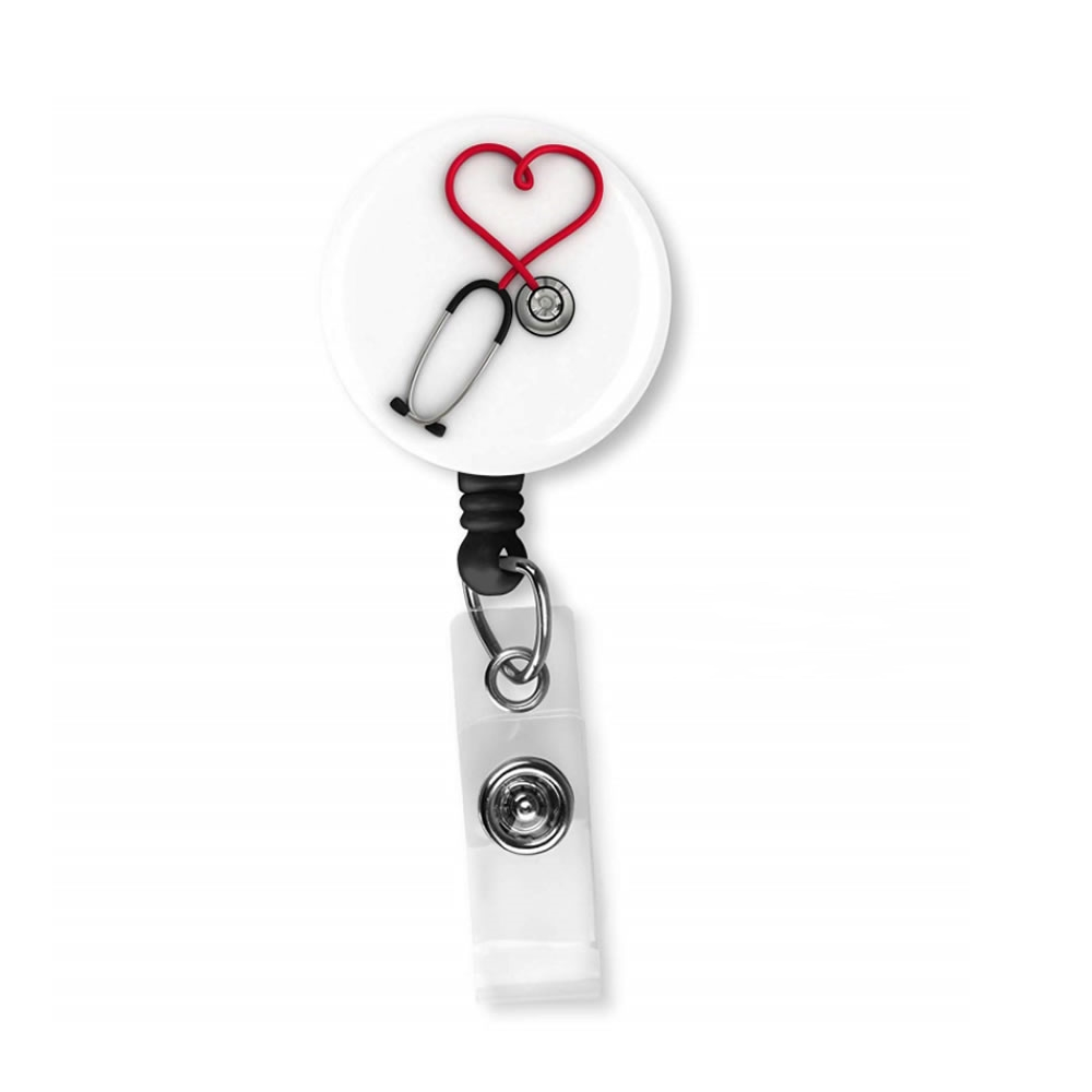 1PCS Stethoscope Nurse Swivel Alligator Clip Retractable Reel ID Badge Name Holder For Office Accessories