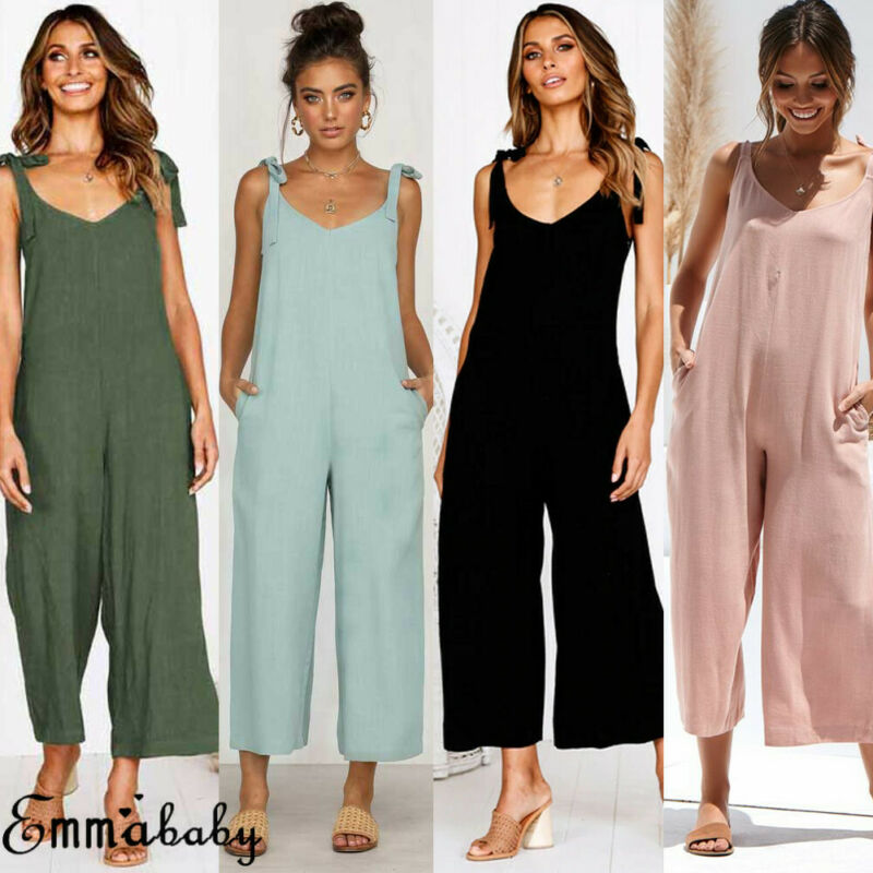 Womens Fashion Solid Color Holiday Playsuit V-neck Sexy Jumpsuit Romper Summer Beach Long Leg Wide Leg Pants HOT
