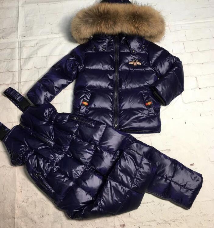 Real raccoon fur 2019 winter jacket child suit jacket+pant twinset boy & girl ski suits children down jacket outerwear parka