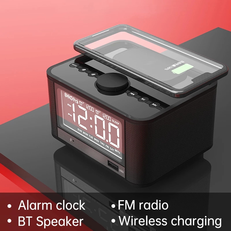 Portable Column Multi-Function Bluetooth Speaker Alarm Clock Wireless Charger Subwoofer Music Center Surround Sound AUX TF Woofe