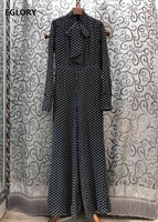 High Quality Jumpsuit 2020 Spring Casual Jumpsuits & Rompers Women Bow Tie Elegant Polka Dot Print Wide Leg Long Sleeve Jumpsuit