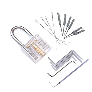 3 In 1 Set Locksmith Tools Practice Transparent Lock Kit With Broken Key Extractor Wrench Tool Removing Hooks Hardware