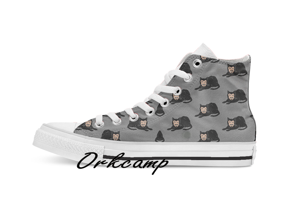 Vlad The Cat Gray  Custom Casual High Top Lace-up Canvas Shoes Sneakers Drop Shipping