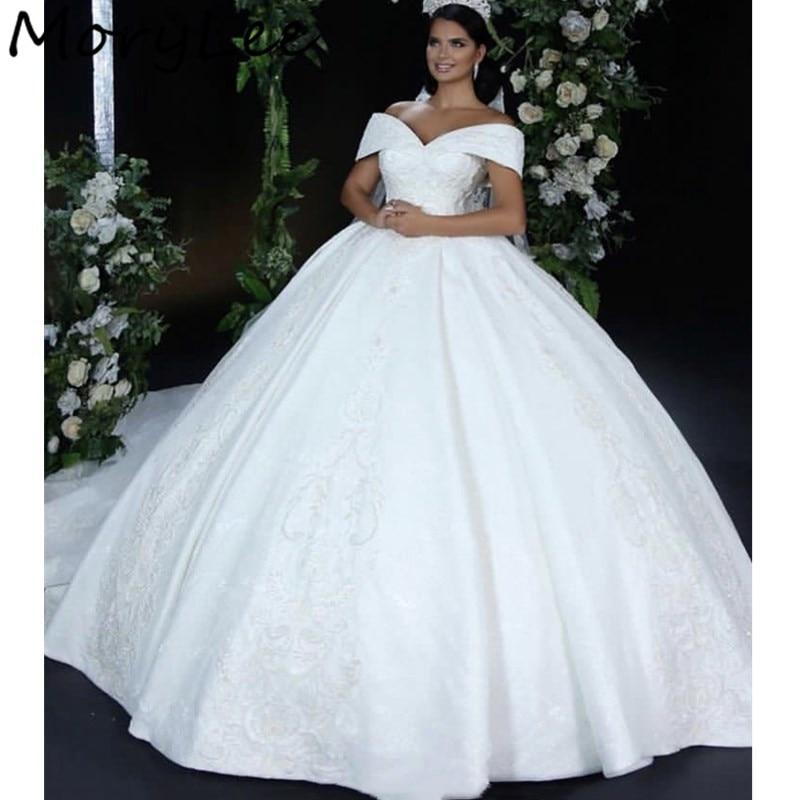 Wedding Dresses Off The Shoulder Floor Length Lace Applique Satin Court Train Wedding Dresses With Lace Up Back Vestido De Noiva