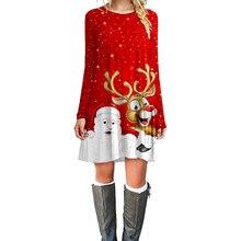 Fashion Christmas Dress Women Winter Dresses 2019 New Print Mini Long Sleeve O-neck Clothes
