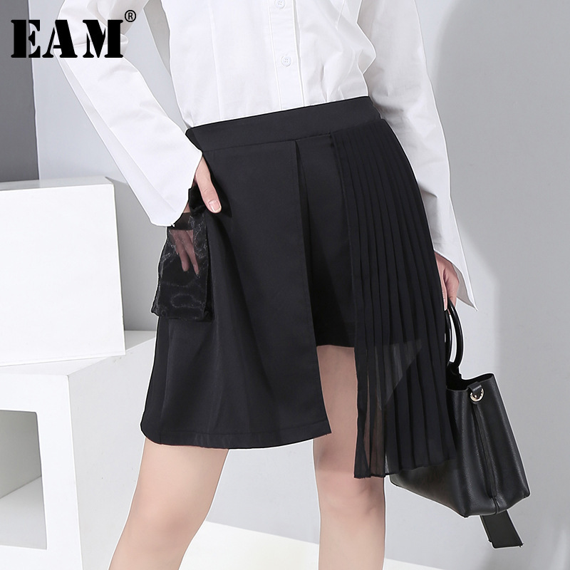 [EAM] Women Black Pleated Pocket Split Wide Leg Shorts New High Waist Loose Fit  Trousers Fashion Tide Spring Autumn 2020 1R305