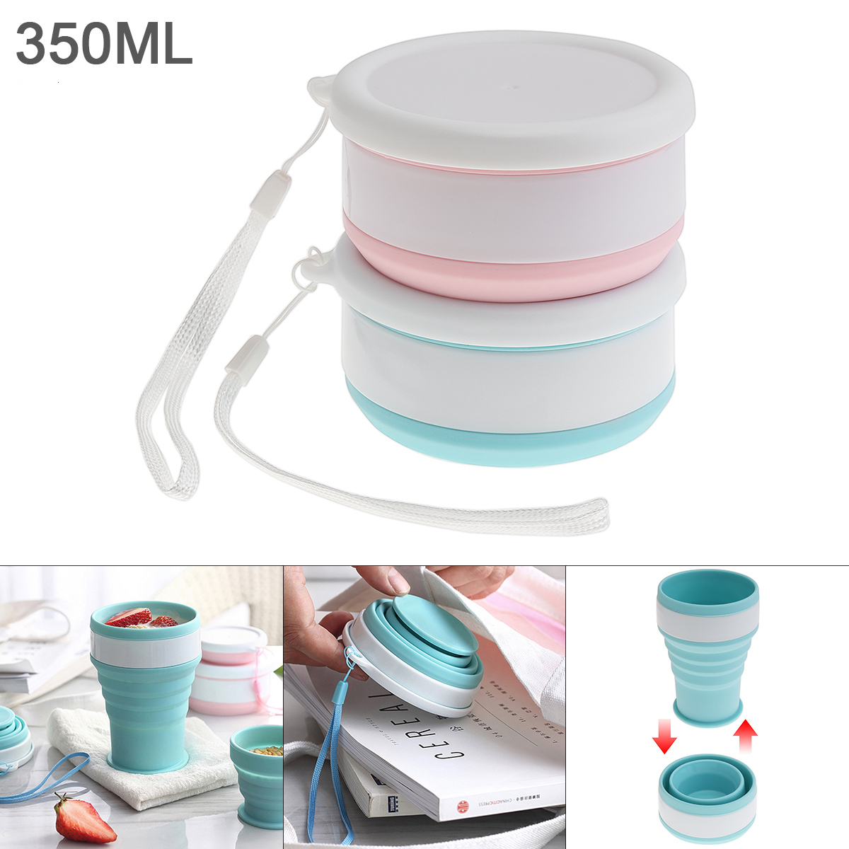 350ML 2 Colors Portable Circular Scalable Silicone Folding Cup  With  Tether For - 50 Centigrade ~ 200 Centigrade