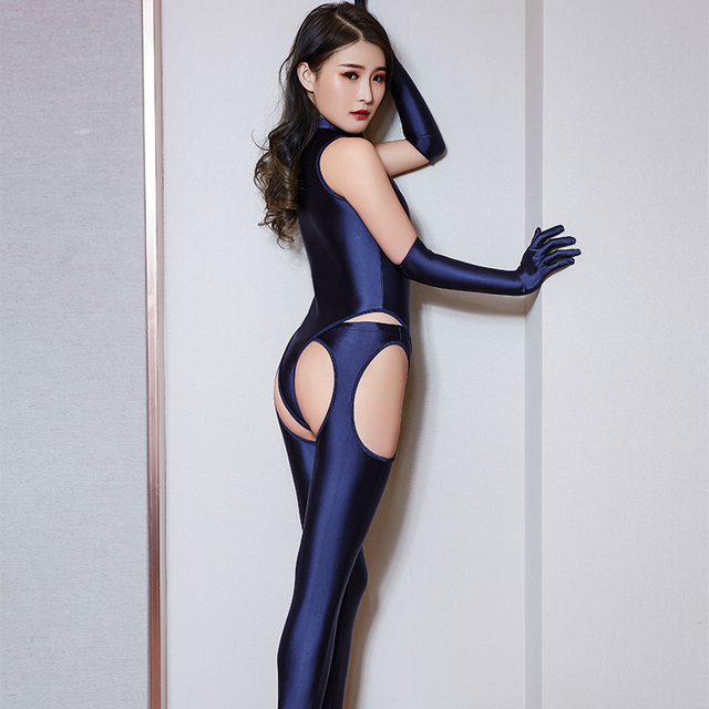 High Elasticity Woman Sexy Sets Temptation Zipper Bodysuit Hollow Out Open Crotch Pants Porn Club Costume Oil Glossy 4 Pce Sets 1