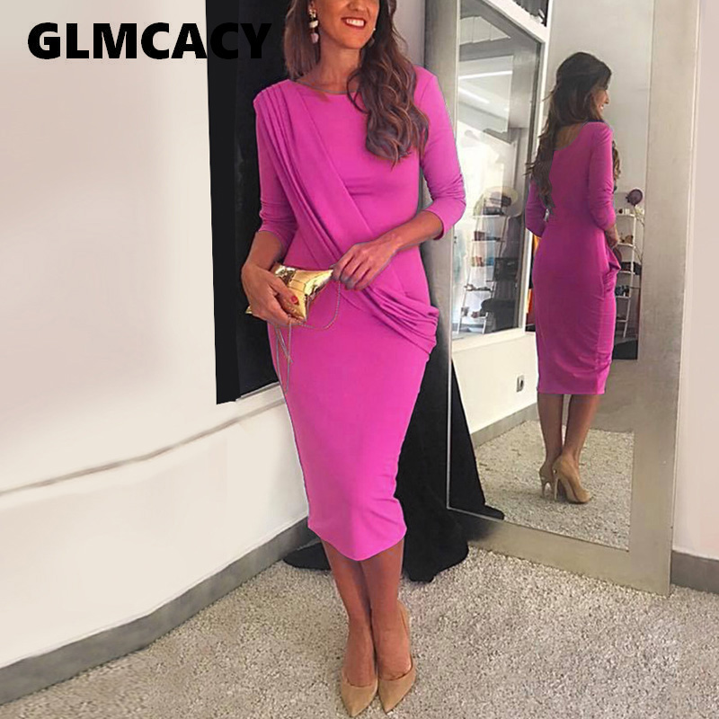 Women Casual O Neck Long Sleeve Bodycon Midi Dress Solid Elegant England Style Office Lady Workwear Party Vestidos Dresses