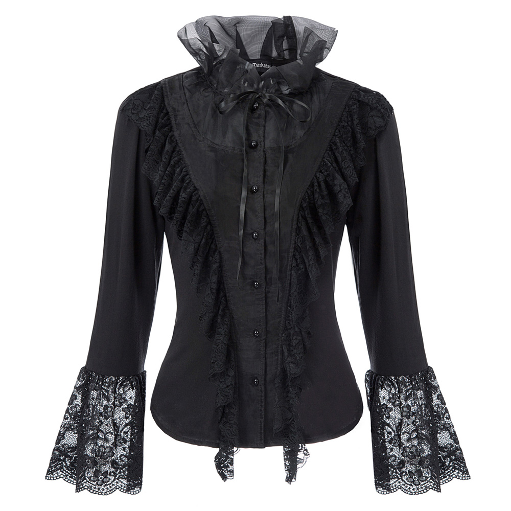 Medieval Shirt Women Ruffles Lace Shirt Tops Long Flare Sleeve Stand Collar Lace-up Gothic Retro Elegant Steampunk Blouse Lady