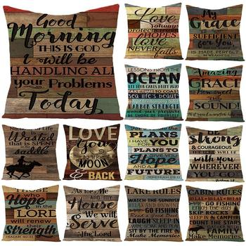Vintage Letters Print Soft Throw Pillow Cover Case Home Car Sofa Bed Decoration European retro nostalgic letters cotton linen image