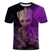 2019 Marvel Movie T-shirt Cute Style O-neck High Quality Short Sleeves T-shirt Galaxy Groot Streetwear Fashion Asian size S-6XL(China)