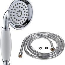 Rociador de lluvia de ducha de mano Vintage, cabezal de ducha de cerámica de latón en forma de teléfono con manguera de 59 pulgadas para baño (acabado cromado)