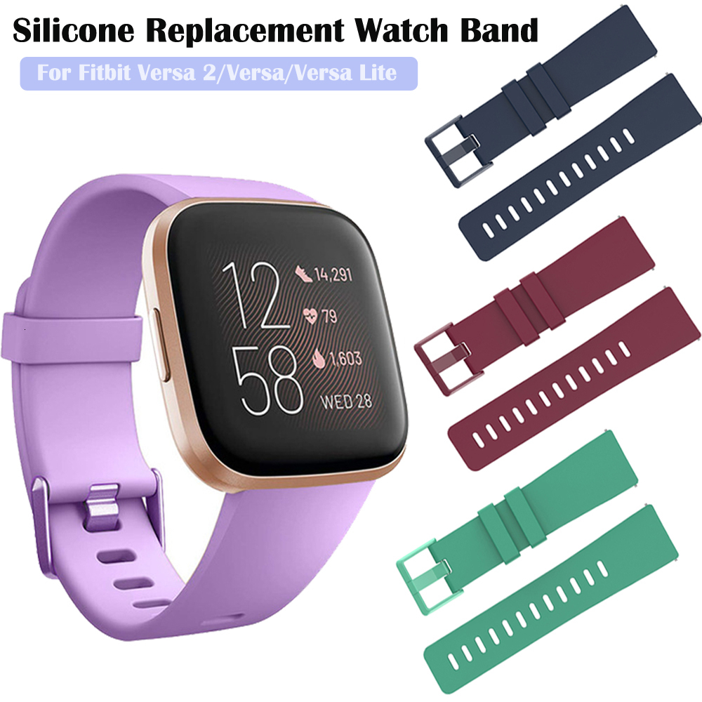 Duszake Band For Fitbit Versa/ Versa Lite/ Versa 2 Silicone Adjustable Replacement Classic Fitness Strap For Fitbit Versa 2 Band