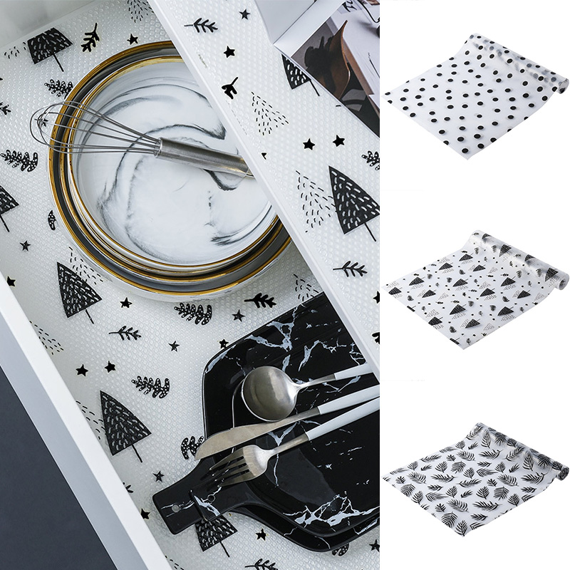 Lovely Drawer Mat Oil-proof Moisture Kitchen Table Shelf Liner Mats Cabinets Pad Paper Non Slip Waterproof Cupboard Placemat 45*122 Cm