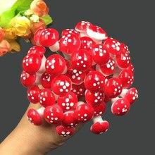 20 pçs/lote 2cm artificial mini cogumelo jardim de fadas musgo terrário resina artesanato decorações estacas artesanato para casa