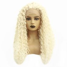 цена на Long Kinky Curly Blonde Lace Front Wigs Heat Resistant Fiber Women Wig Glueless Synthetic Hair Natural Wigs with Baby Hair