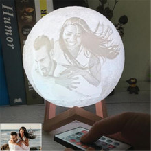3D Print Moon Lamp Night Light Photo Custom USB Rechargeable Nightlight Color Change Lunar Touch/Remote 2/16 Colors Moonlight