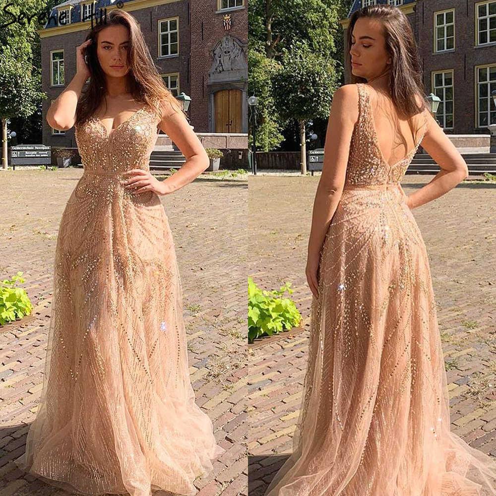 20 Dubai Gold A-Line Luxus Abendkleider V-ausschnitt Perlen Kristall  Sleeveless Fromal Kleid Ruhigen Hill LA20