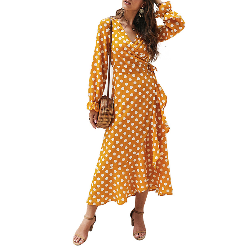 2020 New Summer Women Polka Dot Classic Dress Deep V Neck Long Sleeve Large Swing Long Dress Vestidos