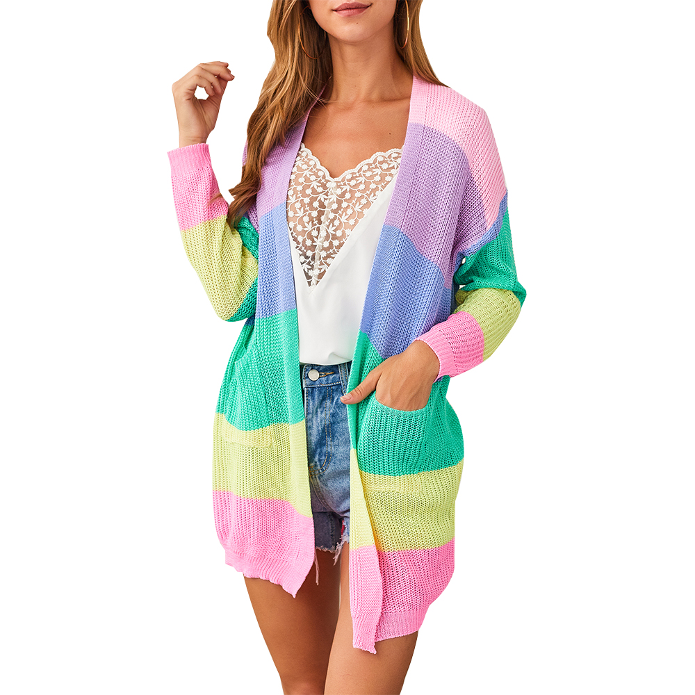 CALOFE Women Autumn Sweater Long Sleeve Patchwork Knitted Open Front Rainbow Striped Cardigan Women Coat Sueter Mujer Invierno