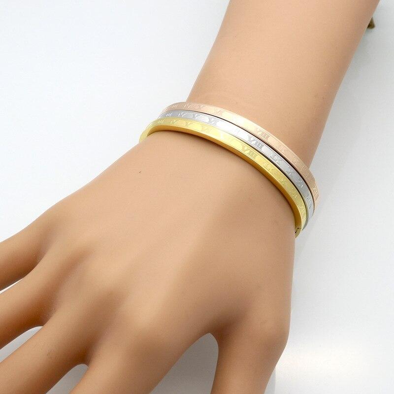 Trendy Bangle Women Rose Gold Bracelet Luxury Brand Designer Bracelets for Women Stainless Steel Female Jewellery in Bangles from Jewelry Accessories