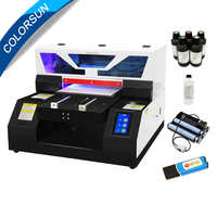 Colorsun automatic A4 UV printer L805 Touch screen A4 Phone case metal glass wood UV flatbed printer bottle holder for free New