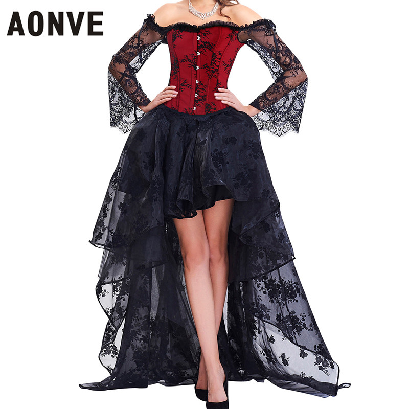 Aonve Corset Top Sexy Lingerie Women's Corset Gothic Corset dress Gothic Style Long Skirt Sexy lace Steampunk 2020 New