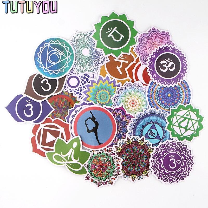 PC247 24pcs/set Indian Yoga Mandala Sticker Waterproof For Laptop Moto Skateboard Luggage Guitar Furnitur Decal Toy Stickers
