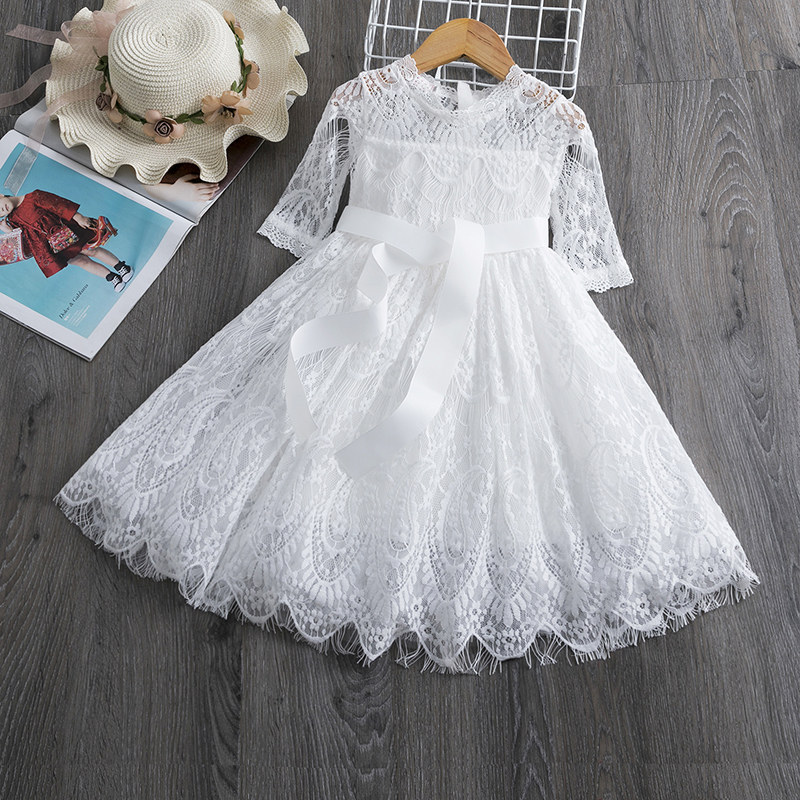Spring 3-8Yrs Kids Dresses for Girls Lace Tulle Wedding Dress Floral Embroidery Summer Baby Girl Sweet Dress Party Vestidos 2