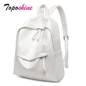 Image 1 - Toposhine 여성용 대용량 배낭 빈티지 소녀 학교 가방 숙녀 여행 화이트 핑크 어깨 가방 여성 배낭