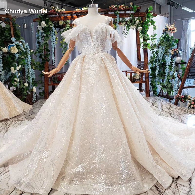 HTL686 Shiny Wedding Dress For Girl Off The Shoulder Chapel Train Ruffles Pleat Sequined Appliques Wedding Gown Suknia ślubna