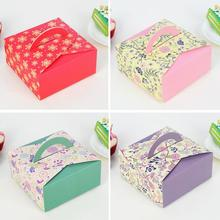 10pcs Flower Kraft Paper Cupcake Box Wedding Cake With Handle Party Favor DIY Dessert Packaging Boxes
