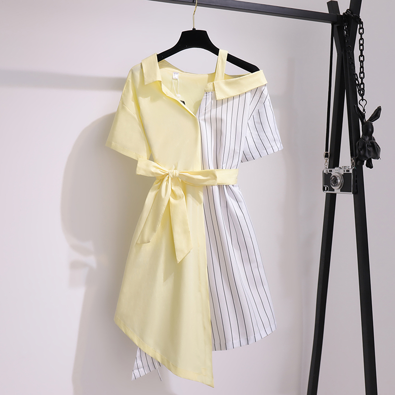 New Arrival Summer Women High Quality Irregular Elegant Dress O Neck Sweet Casual Striped Patchwork Dresses With Belt Vestidos