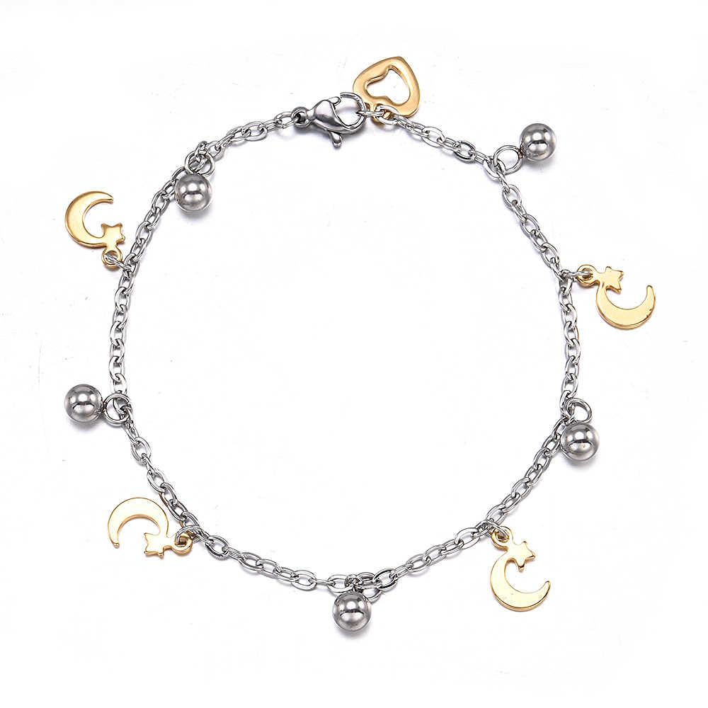Nowy srebrny złoty ze stali nierdzewnej zwierząt serce księżyc piłka bransoletki dla kobiet mężczyzn biżuteria motyl urok para bransoletka hurtownie