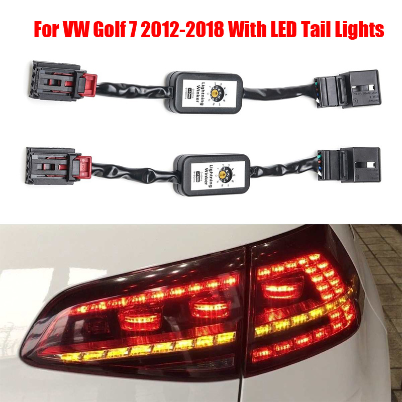 2PCS Indicator LED Taillight Add-on Module Cable Wire Harness For VW Golf 7 Black Dynamic Turn Signal Left & Right Tail Light