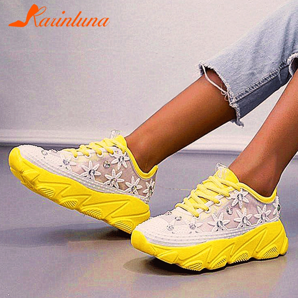 Karinluna 2020 INS HOT Lace Mesh Dirving Walking Sneakers Comfy Flowers Casual Leisure Maternity Shoes Women Flats Footwear