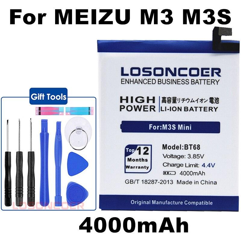 Gift tool kit BT68 Battery 4000mAh BT15 for Meizu M3 M3S / M3S Mini Battery Y685Q M688Q M688C M688M M688U Battery In stock