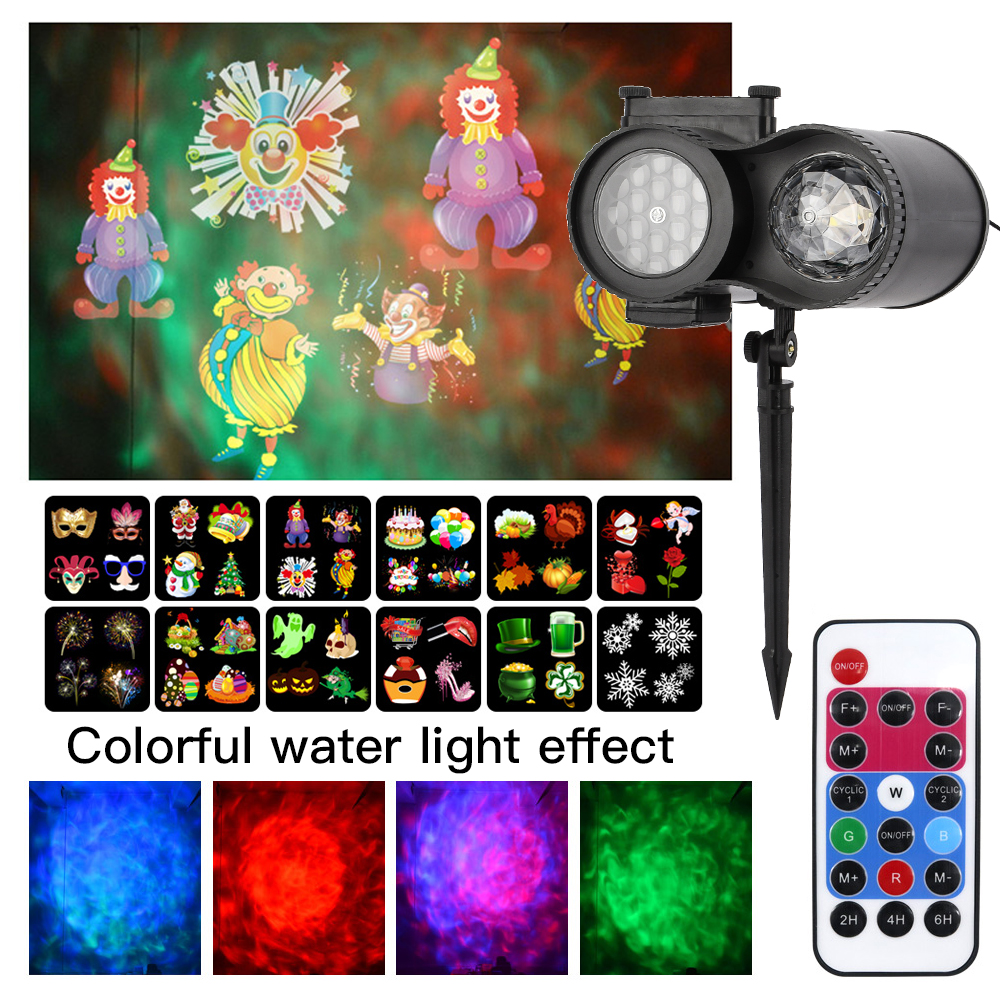 12 Slides Ocean Wave LED Snowflake Spotlight Waterproof IP66 Outdoor Christmas Projector Light With Remote Control For Birthday