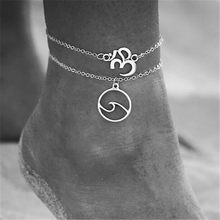 Lusi Jewelry New Design Tattoo Wave Anklets For Women Bohemia Vintage Gold Sliver Beach pendant Foot Jewelry Summer Accessories(China)
