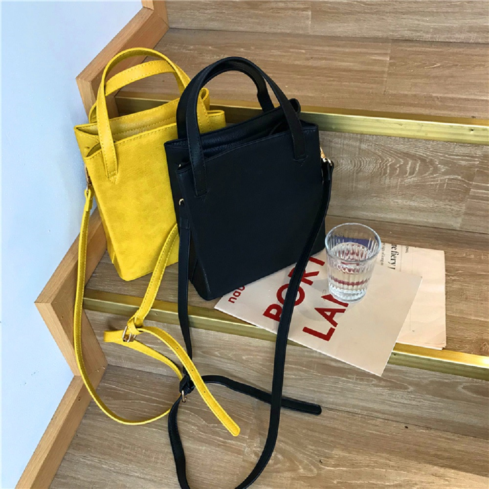Vintage Handbags Women Bags Designer Leather Tote Bag Small Yellow Square Handbag Korean Style Winter Retro Tote Bags