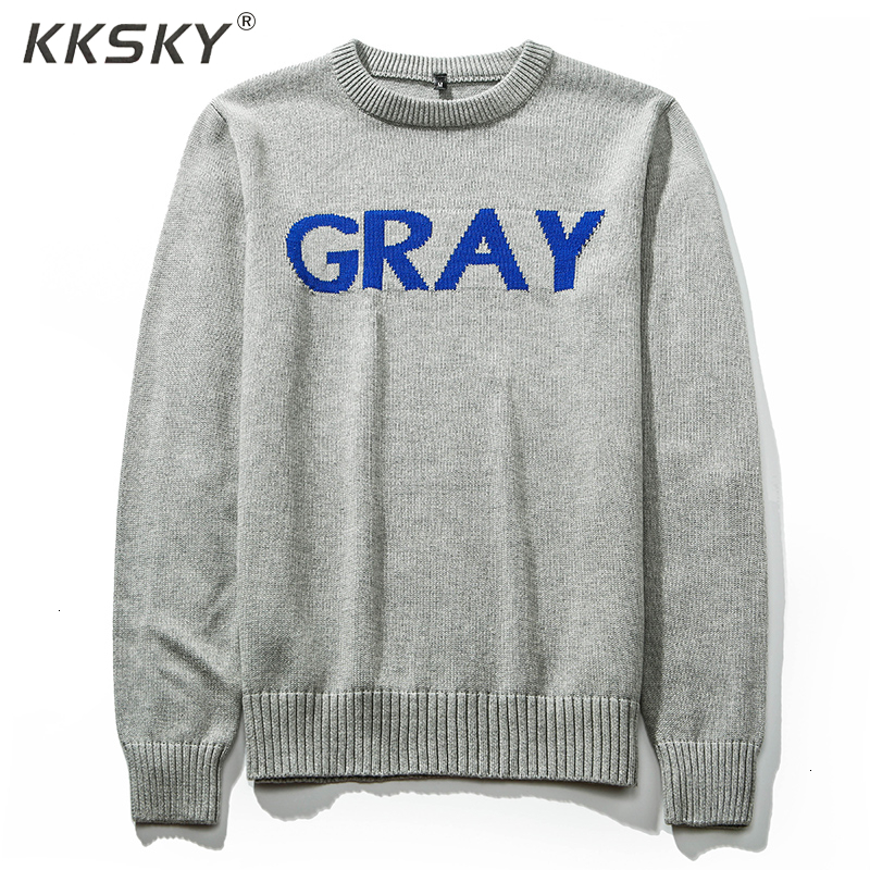 Grey Sweater Men's Pullover O-Neck 2019 Winter Pure Color Casual Knit Sweater Long Sleeve Brand High Quality Pullover Sweater