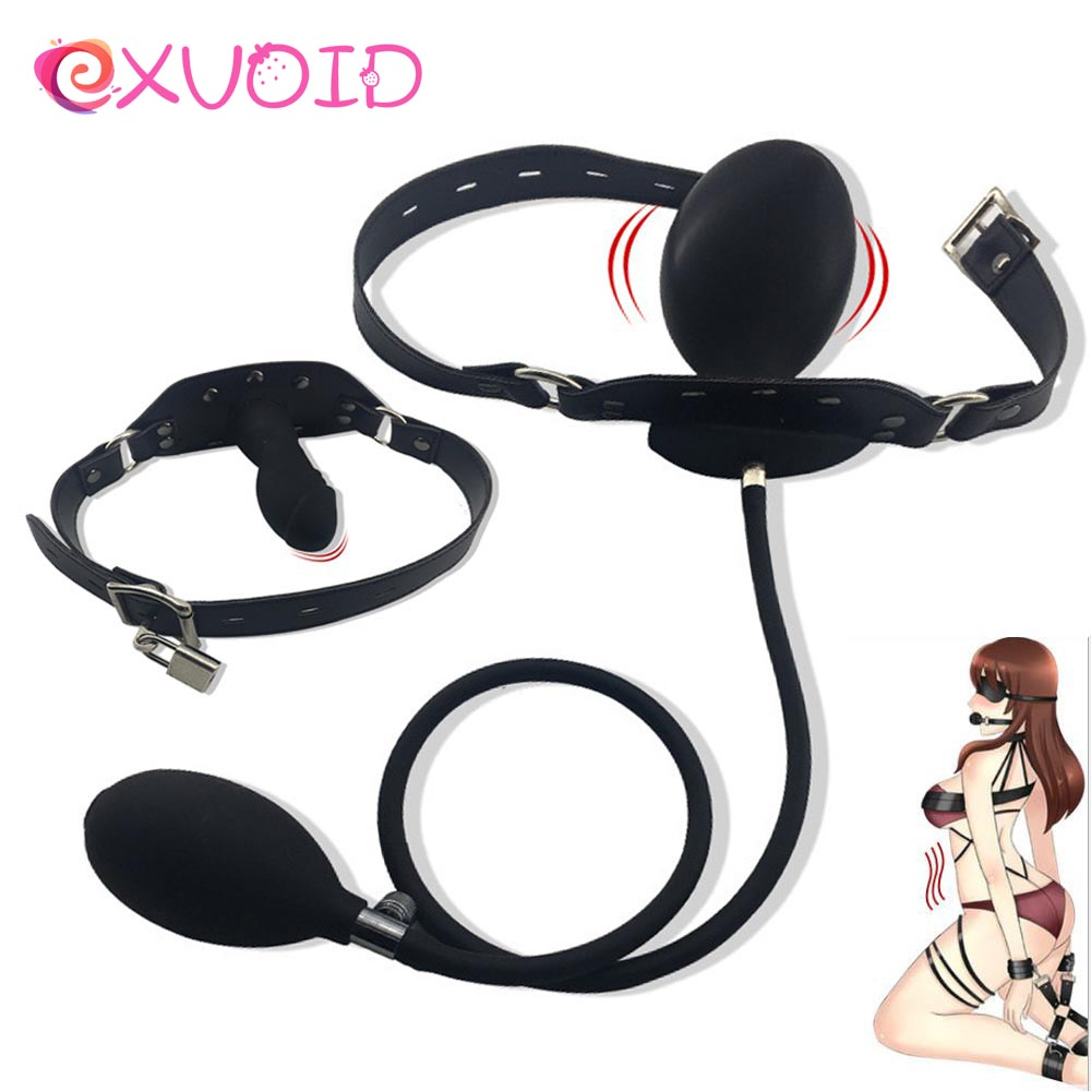 EXVOID Inflatable Penis Gag Open Mouth Gag Oral Dildo Plug BDSM Bondage Fetish Slave Restraints Adult Sex Toys For Couples Flirt
