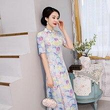 2020 אביב חדש השתפר ארוך cheongsam שמלת התיכון שרוול אופנה יומית סוף מפעל ישיר סיני סגנון