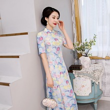 2020 spring new improved long cheongsam dress middle sleeve fashion daily high end factory direct Chinese style