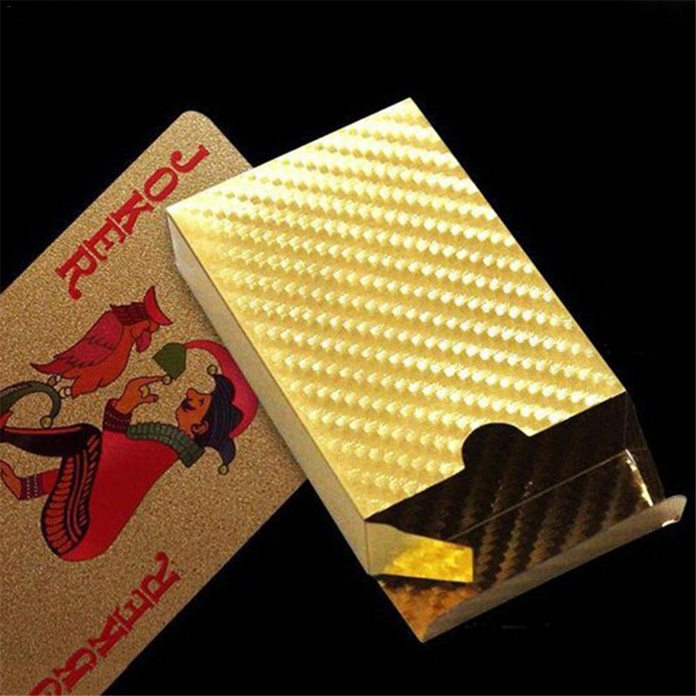 24K Gold Playing Cards Poker Game Deck Gold Foil Poker Set Plastic Magic Card Waterproof Cards Magic Board Games