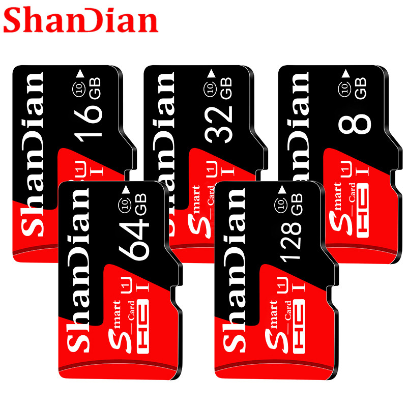 SHANDIAN Smast SD Card  U3 4K Video Class 10 High Speed Memory Card 128GB 64GB 32GB 16gb U1 Class 10 SD Card For Phones Cameras
