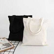 Women Canvas Tote-Bags Handbag Eco Solid Grocery-Storage Large-Capacity Reusable
