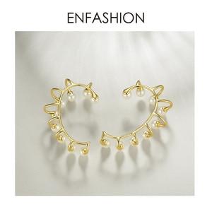 Image 3 - ENFASHION Pendientes gemelos de perla para oreja para mujer, aretes grandes de Color dorado sin perforación, joyería, aretes EC191067